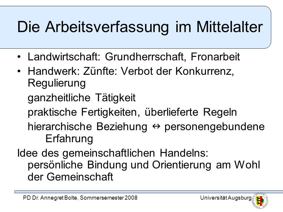 Die Arbeitsverfassung im Mittelalter