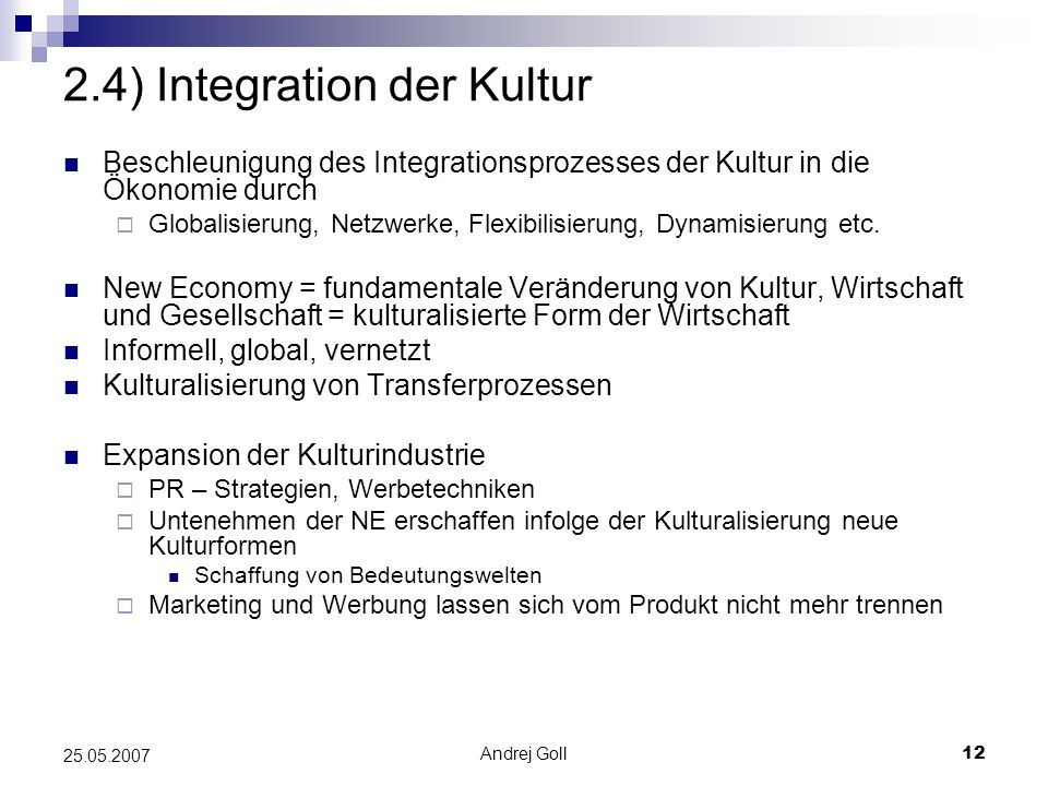 2.4) Integration der Kultur