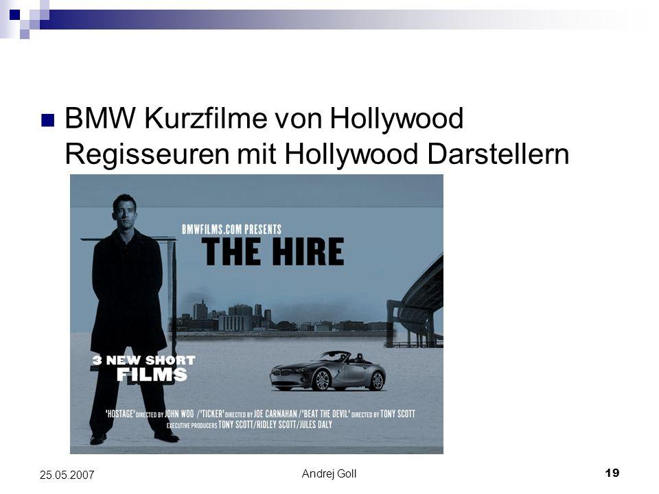 BMW Kurzfilme von Hollywood Regisseuren mit Hollywood Darstellern