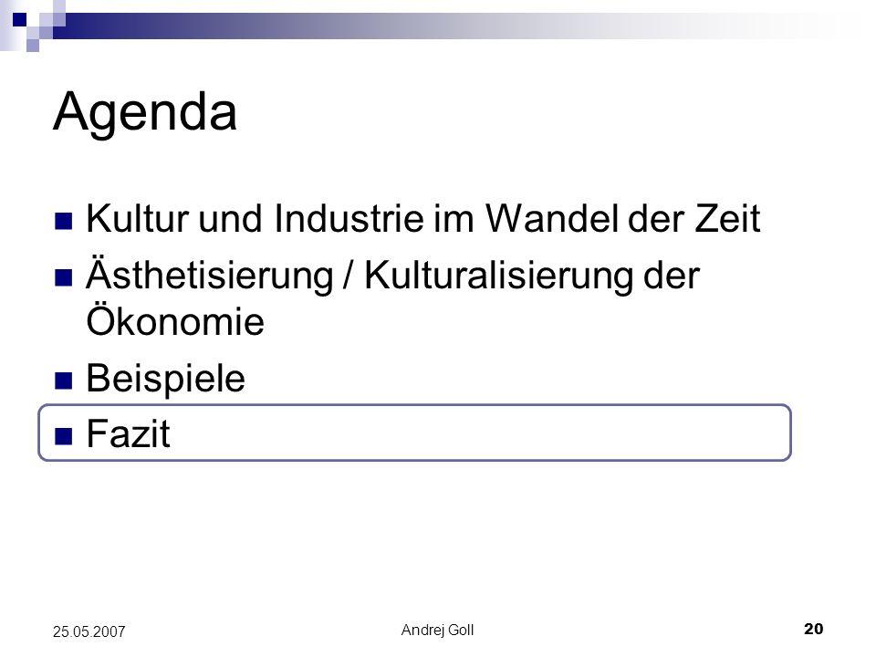 Agenda Kultur und Industrie im Wandel der Zeit