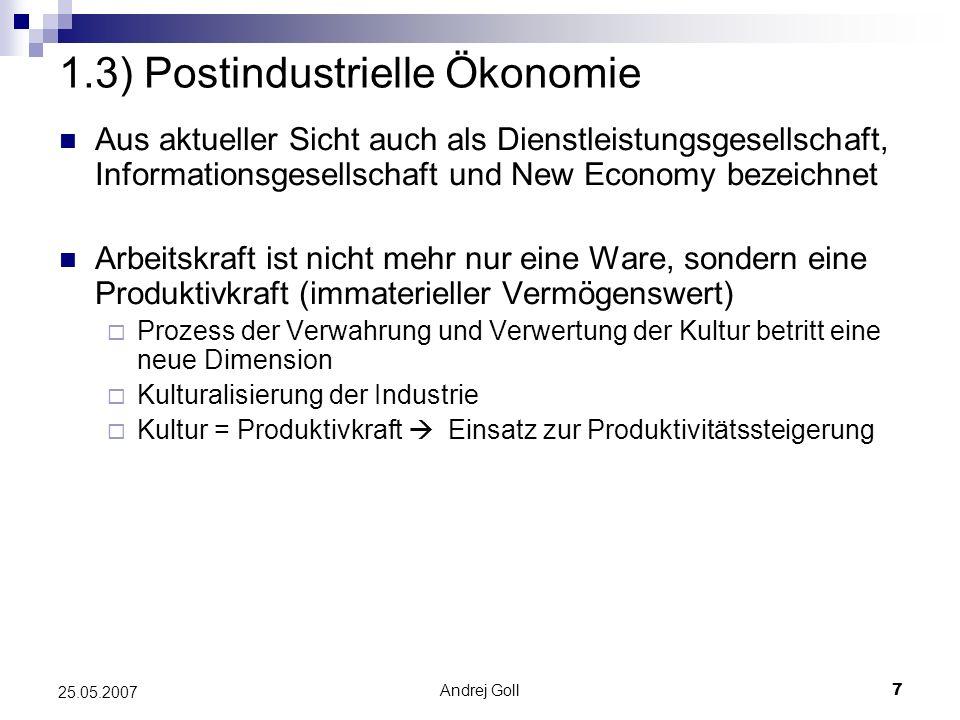1.3) Postindustrielle Ökonomie