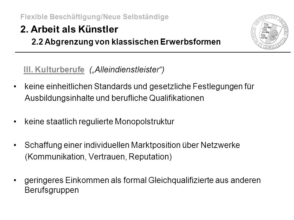 """III. Kulturberufe (""""Alleindienstleister )"""