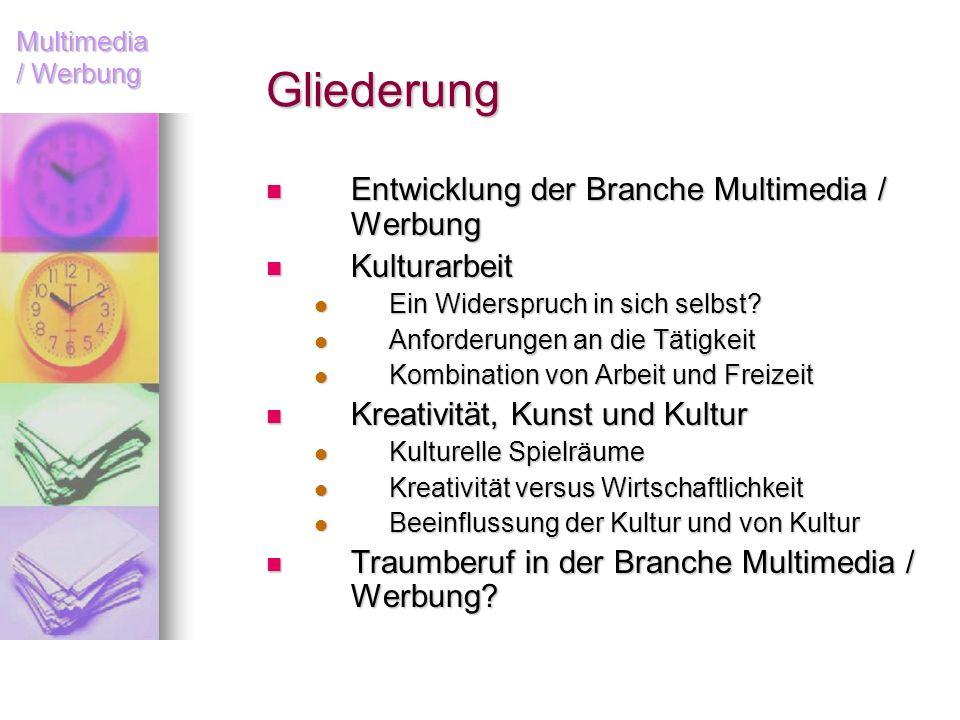 Gliederung Entwicklung der Branche Multimedia / Werbung Kulturarbeit