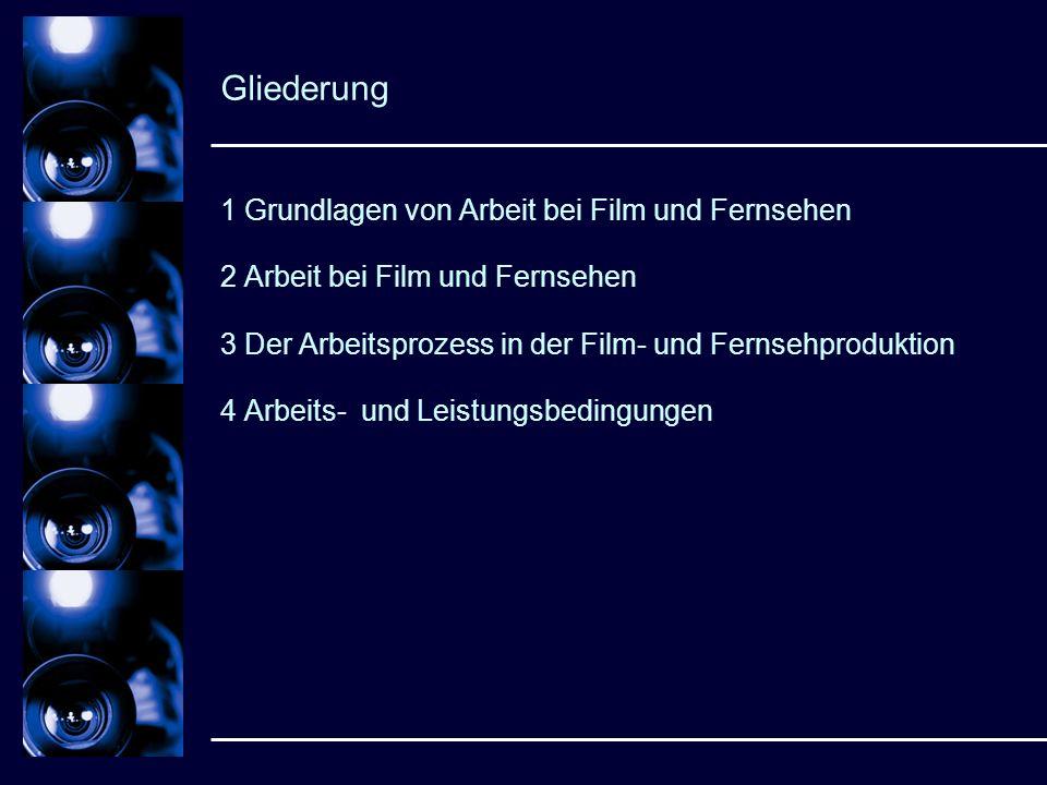 Gliederung 1 Grundlagen von Arbeit bei Film und Fernsehen