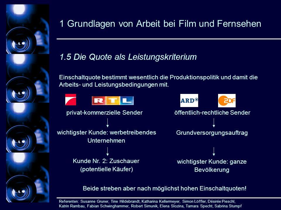1 Grundlagen von Arbeit bei Film und Fernsehen