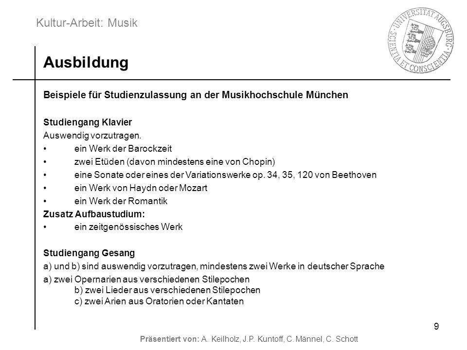 Ausbildung Beispiele für Studienzulassung an der Musikhochschule München. Studiengang Klavier. Auswendig vorzutragen.