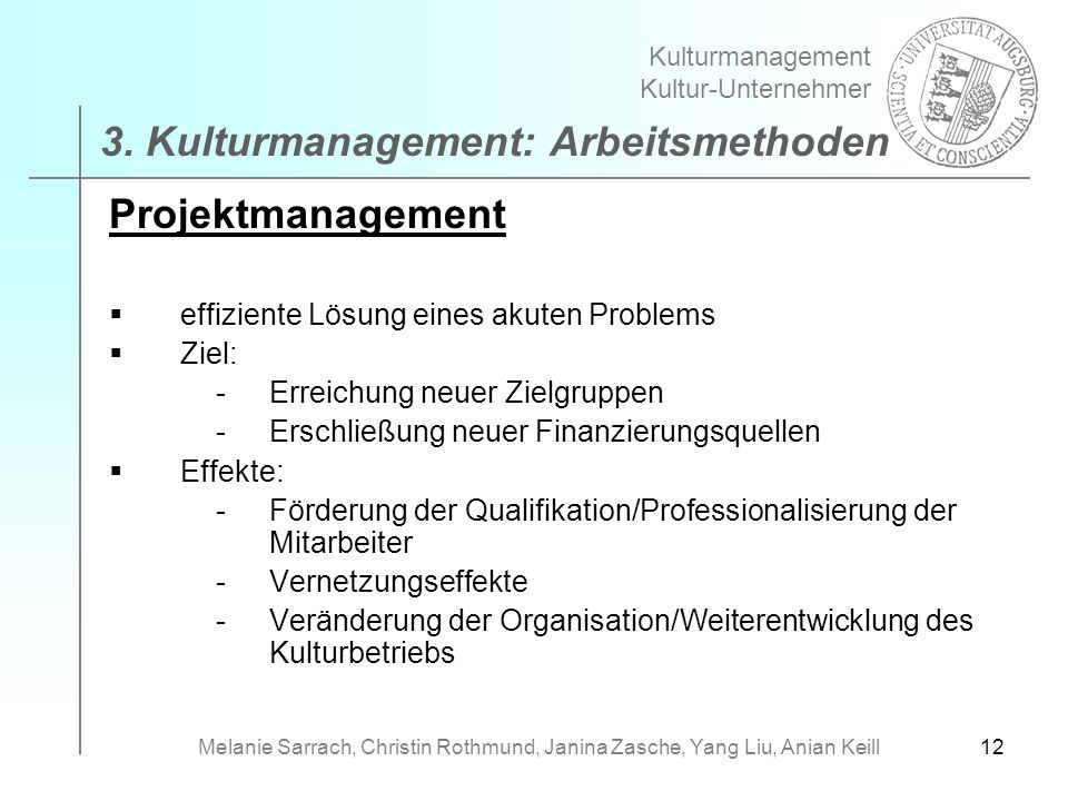 3. Kulturmanagement: Arbeitsmethoden