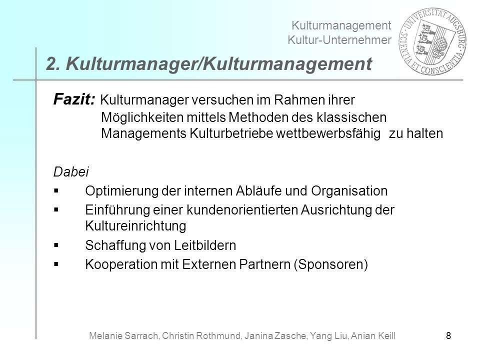 2. Kulturmanager/Kulturmanagement