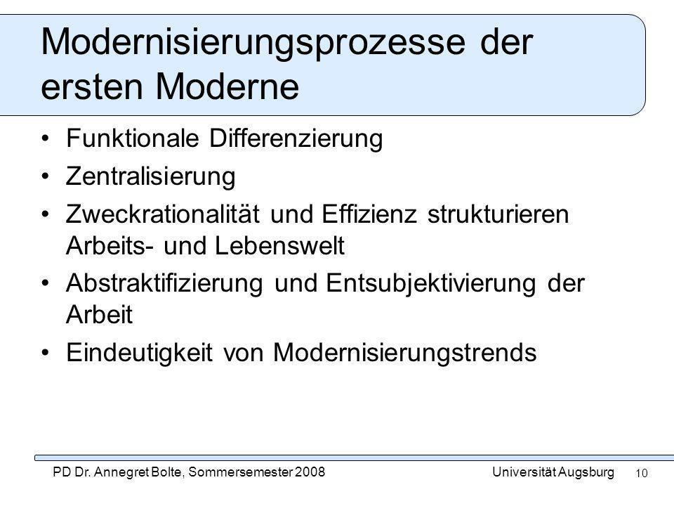 Modernisierungsprozesse der ersten Moderne