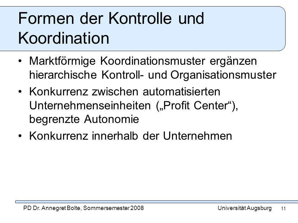 Formen der Kontrolle und Koordination