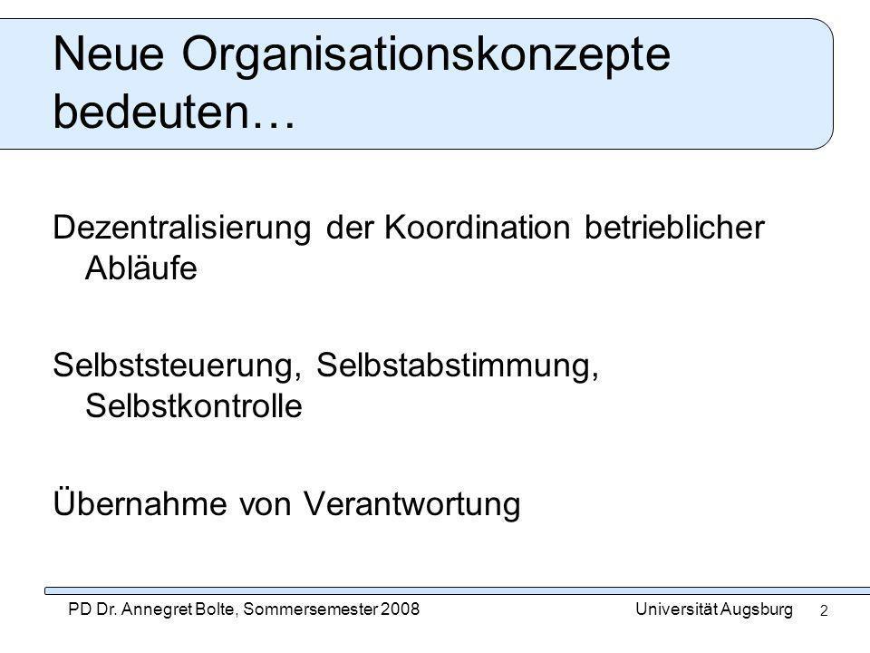 Neue Organisationskonzepte bedeuten…