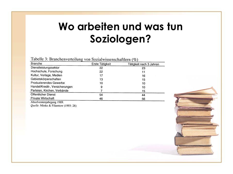 Wo arbeiten und was tun Soziologen