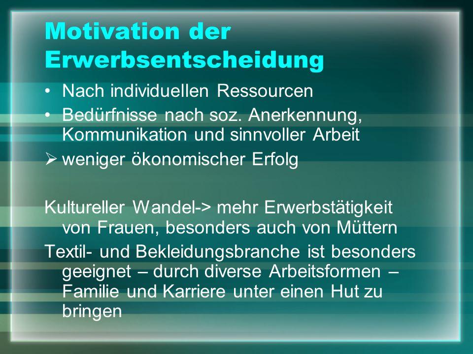 Motivation der Erwerbsentscheidung