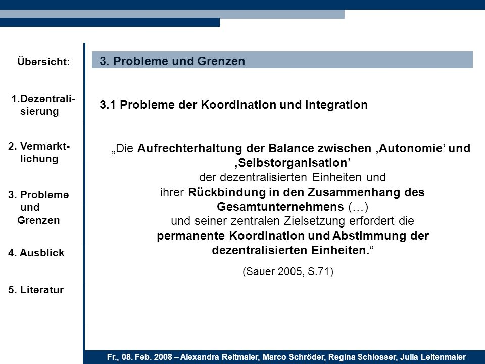 3.1 Probleme der Koordination und Integration