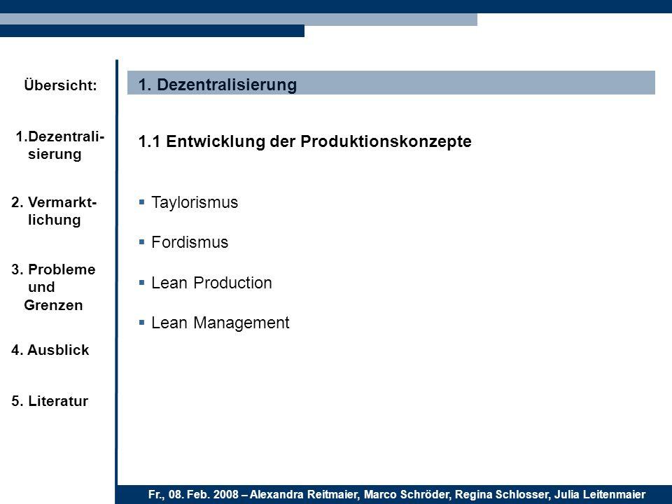 1. Dezentralisierung 1.1 Entwicklung der Produktionskonzepte. Taylorismus. Fordismus. Lean Production.
