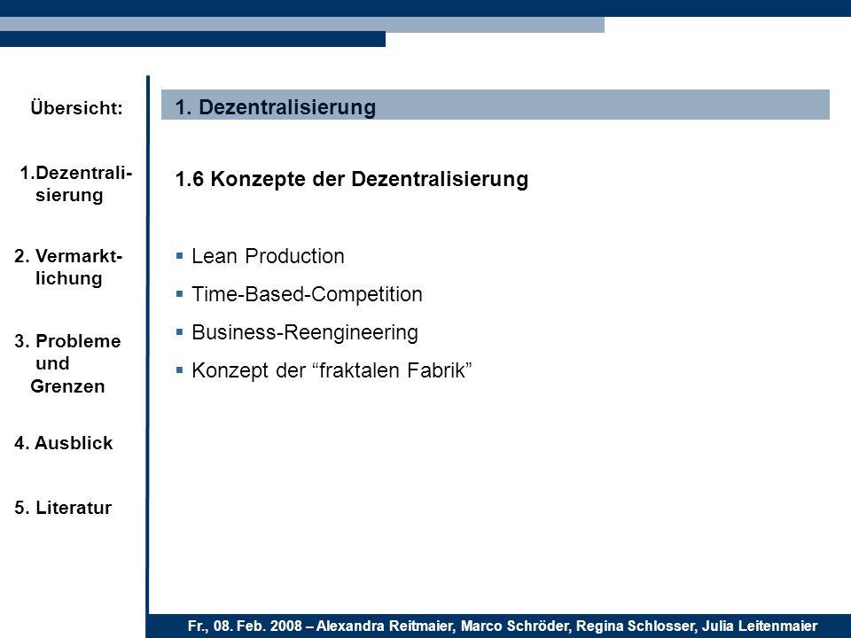 1. Dezentralisierung1.6 Konzepte der Dezentralisierung. Lean Production. Time-Based-Competition. Business-Reengineering.