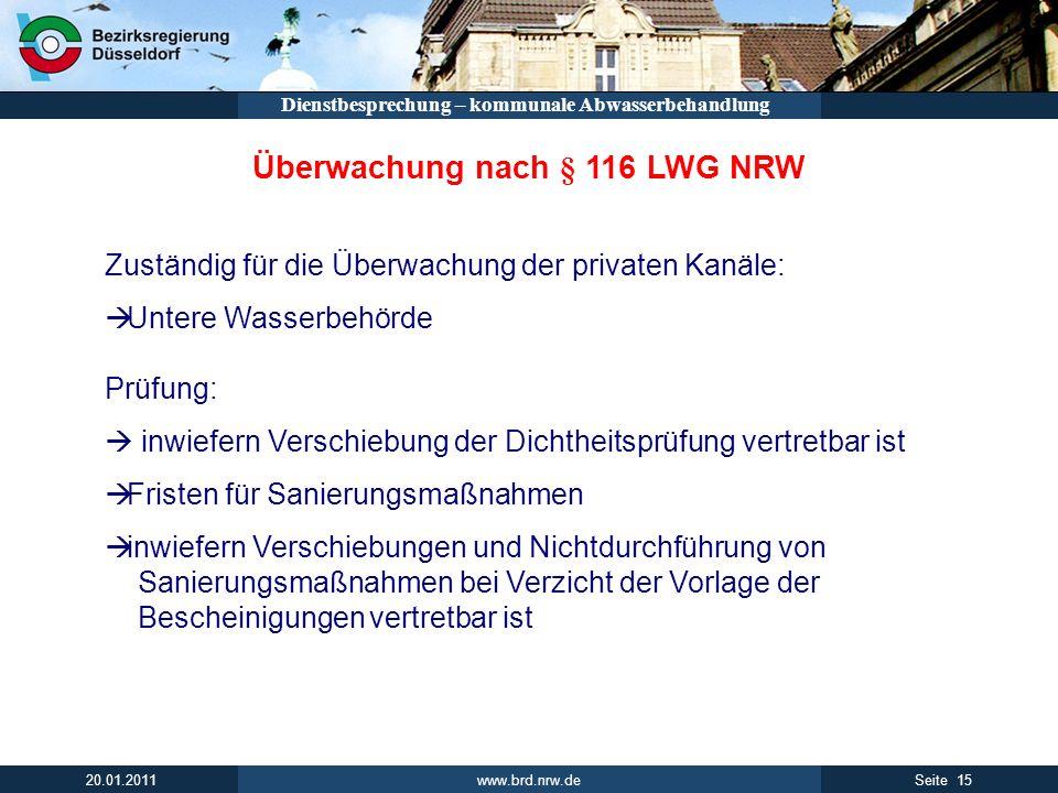Überwachung nach § 116 LWG NRW