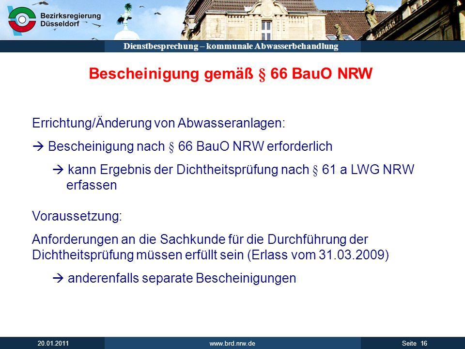Bescheinigung gemäß § 66 BauO NRW