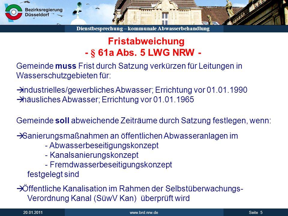 - § 61a Abs. 5 LWG NRW - Fristabweichung