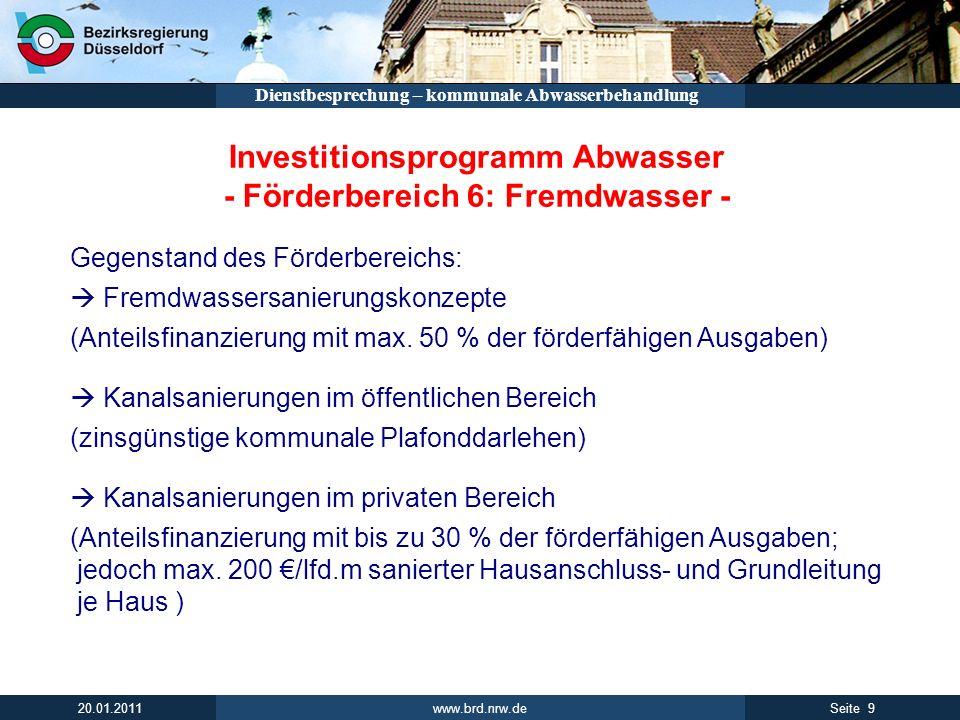 Investitionsprogramm Abwasser - Förderbereich 6: Fremdwasser -