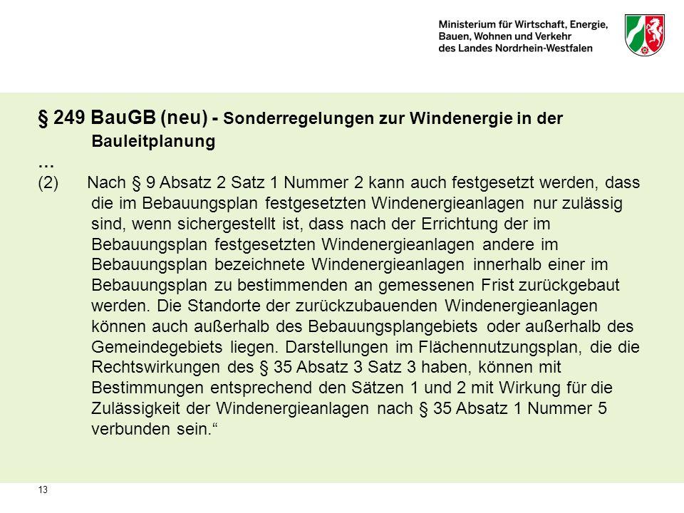 § 249 BauGB (neu) - Sonderregelungen zur Windenergie in der Bauleitplanung