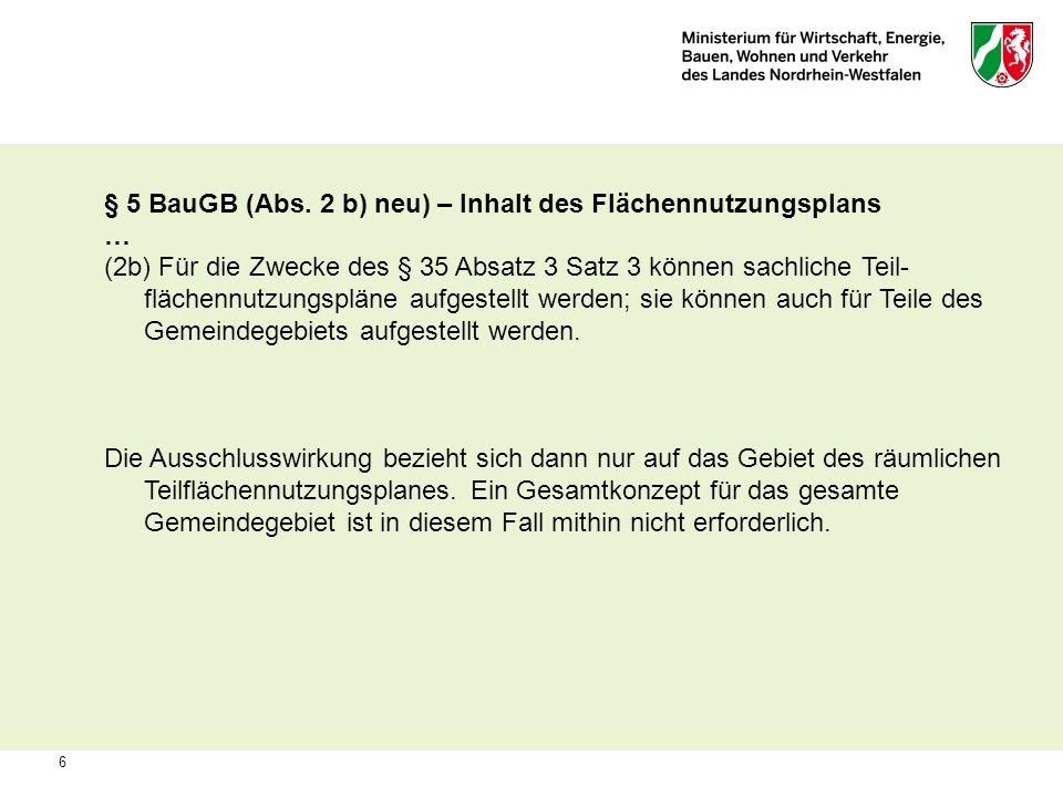 § 5 BauGB (Abs. 2 b) neu) – Inhalt des Flächennutzungsplans …