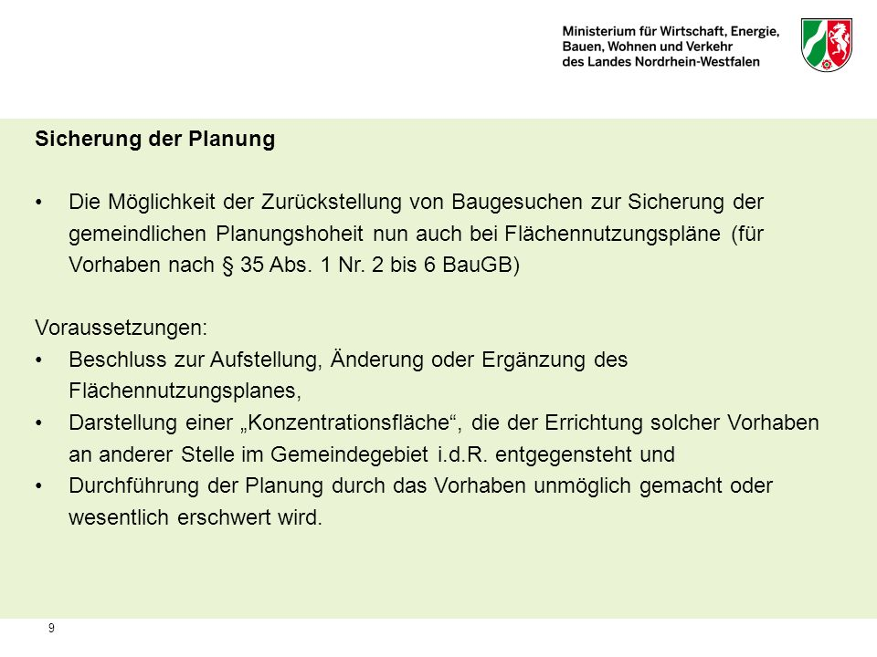Sicherung der Planung