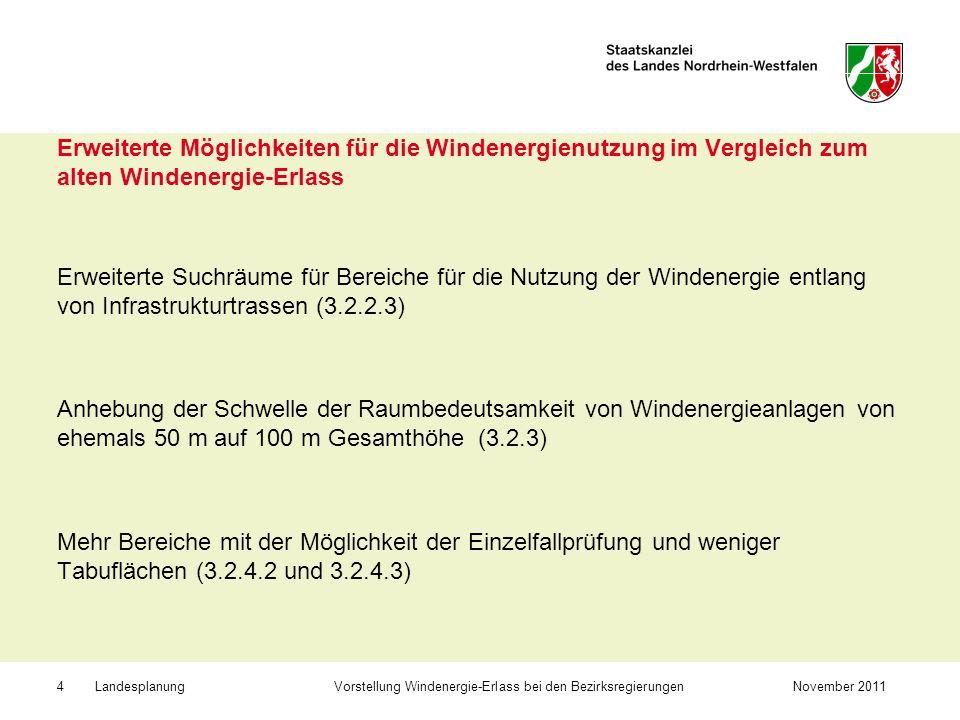 Erweiterte Möglichkeiten für die Windenergienutzung im Vergleich zum alten Windenergie-Erlass
