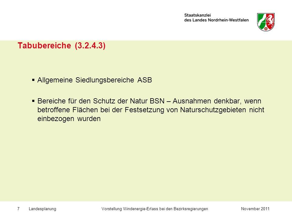 Tabubereiche (3.2.4.3) Allgemeine Siedlungsbereiche ASB