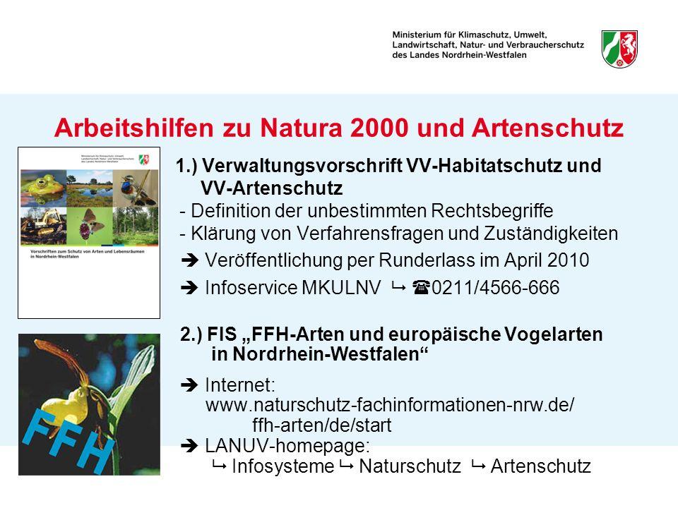 Arbeitshilfen zu Natura 2000 und Artenschutz