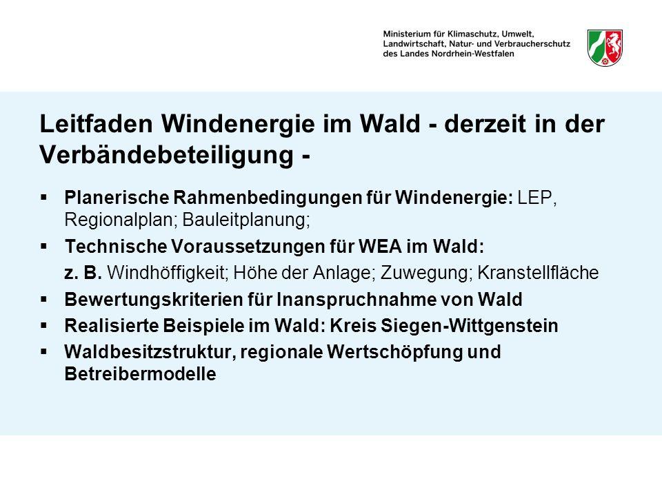 Leitfaden Windenergie im Wald - derzeit in der Verbändebeteiligung -