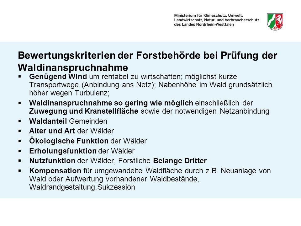Bewertungskriterien der Forstbehörde bei Prüfung der Waldinanspruchnahme