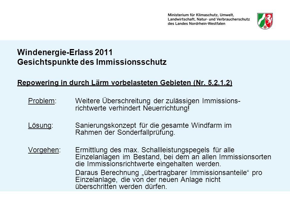 Windenergie-Erlass 2011 Gesichtspunkte des Immissionsschutz