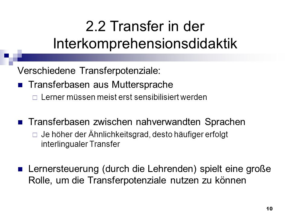 2.2 Transfer in der Interkomprehensionsdidaktik