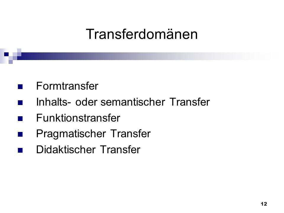 Transferdomänen Formtransfer Inhalts- oder semantischer Transfer