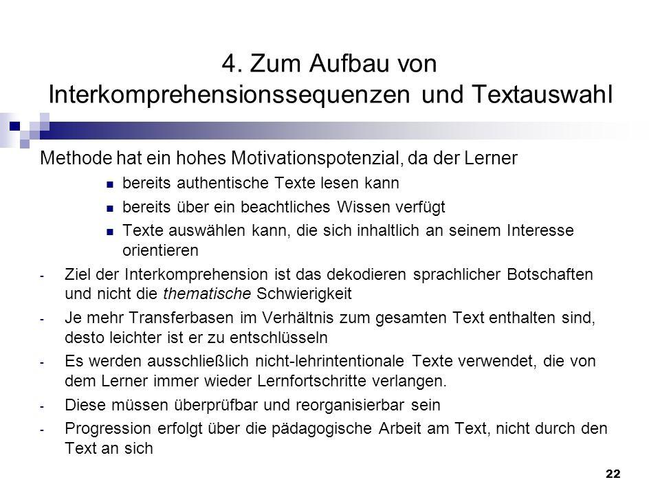 4. Zum Aufbau von Interkomprehensionssequenzen und Textauswahl