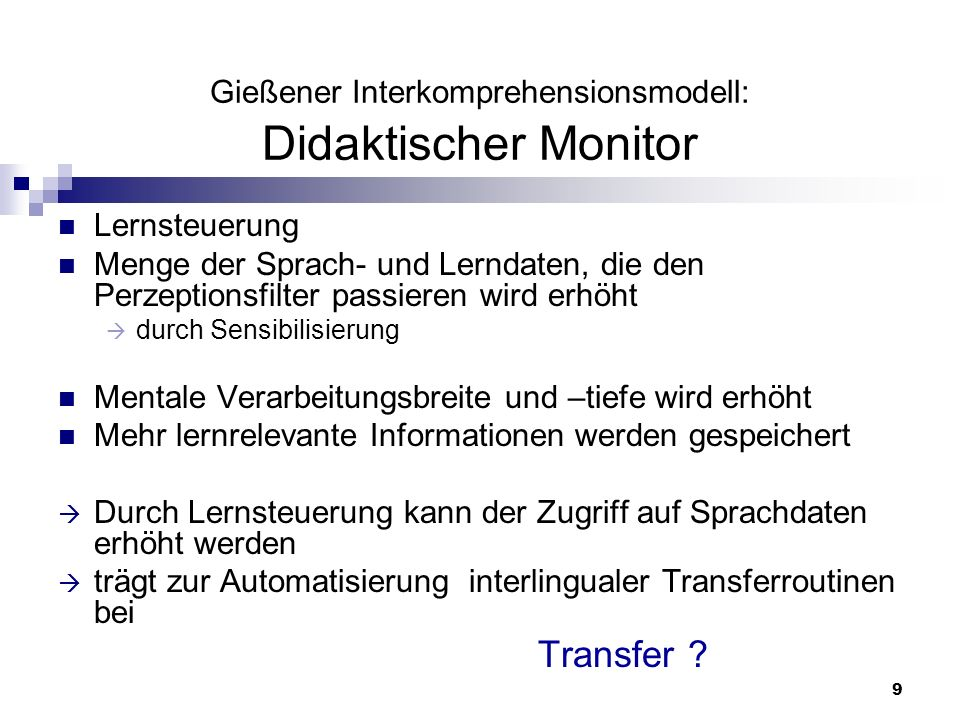 Gießener Interkomprehensionsmodell: Didaktischer Monitor