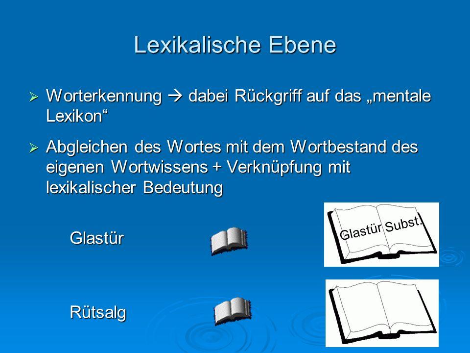 """Lexikalische EbeneWorterkennung  dabei Rückgriff auf das """"mentale Lexikon"""