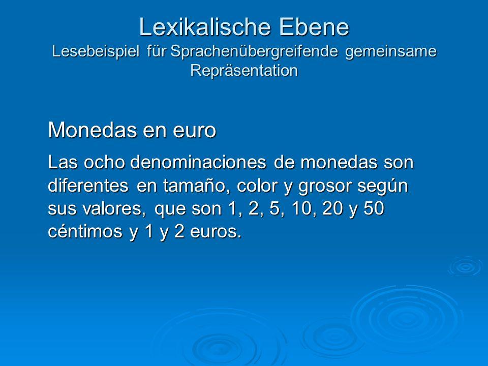 Lexikalische Ebene Lesebeispiel für Sprachenübergreifende gemeinsame Repräsentation