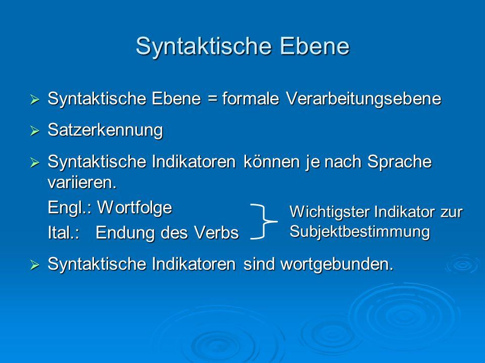 Syntaktische Ebene Syntaktische Ebene = formale Verarbeitungsebene