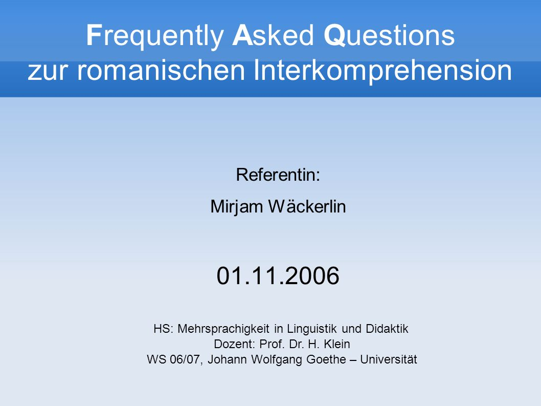 Frequently Asked Questions zur romanischen Interkomprehension