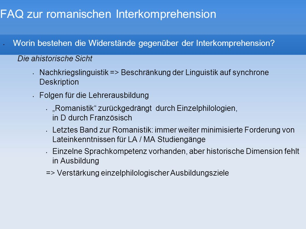 FAQ zur romanischen Interkomprehension