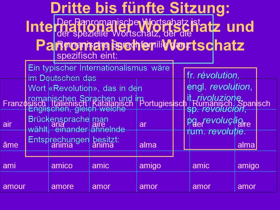 Dritte bis fünfte Sitzung: Internationaler Wortschatz und Panromanischer Wortschatz