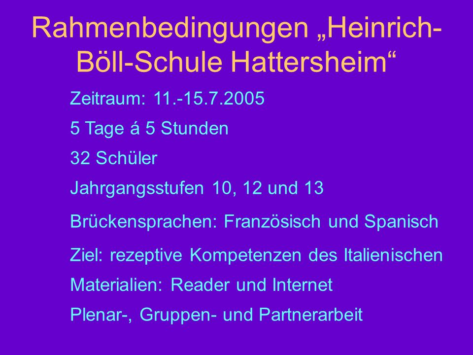 """Rahmenbedingungen """"Heinrich-Böll-Schule Hattersheim"""
