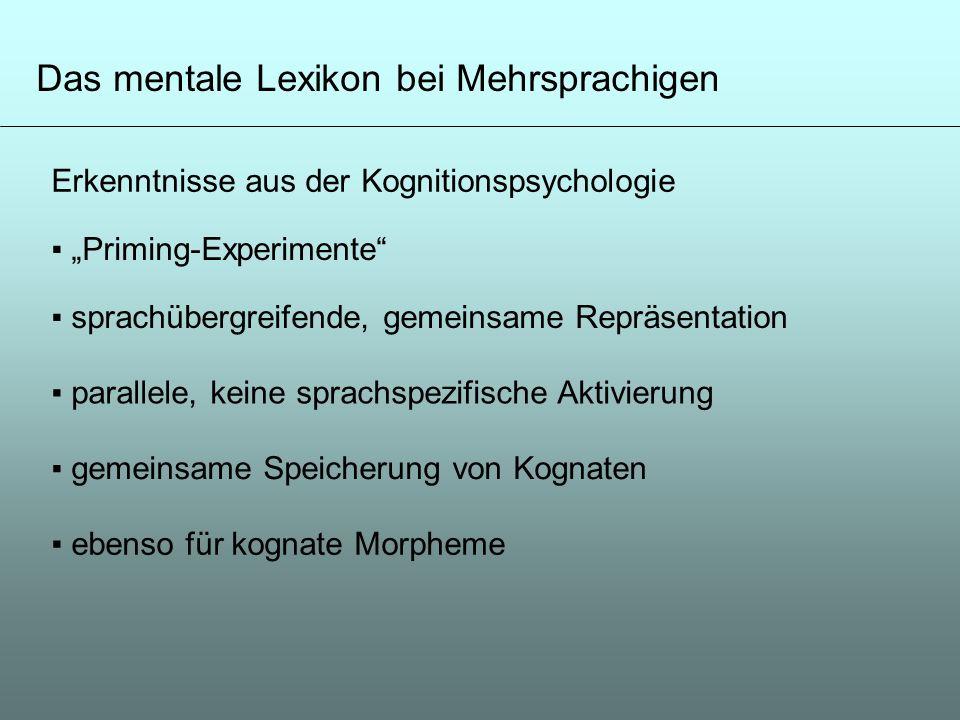 Das mentale Lexikon bei Mehrsprachigen