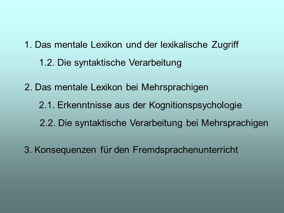 Das mentale Lexikon und der lexikalische Zugriff