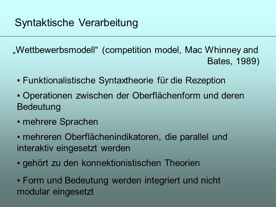 Syntaktische Verarbeitung