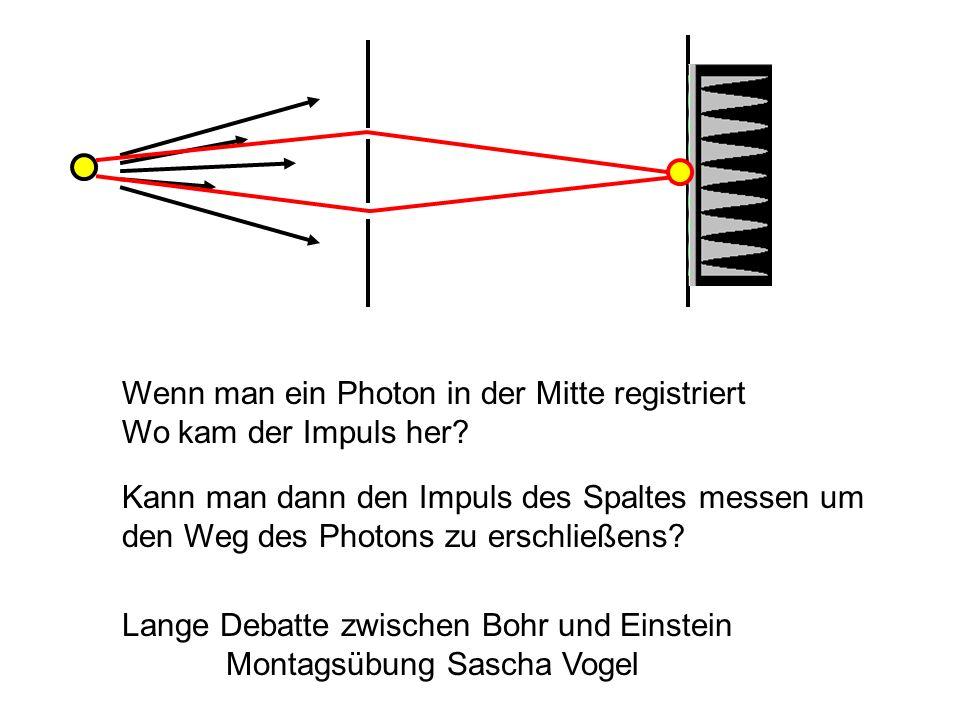 Wenn man ein Photon in der Mitte registriert Wo kam der Impuls her