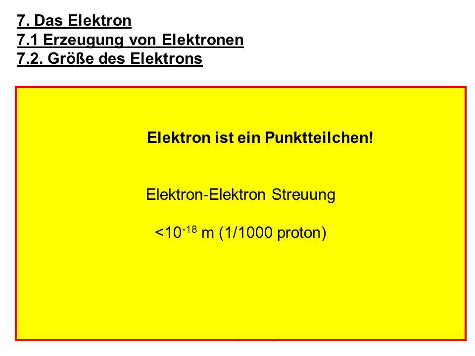 7.1 Erzeugung von Elektronen 7.2. Größe des Elektrons