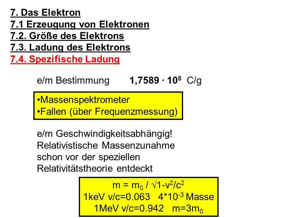 7. Das Elektron 7.1 Erzeugung von Elektronen. 7.2. Größe des Elektrons. 7.3. Ladung des Elektrons.